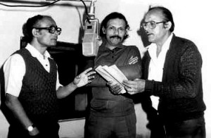 Mahendra Borthakur, Ananda Goswami and Nilu Chakravorty during a radio drama recording